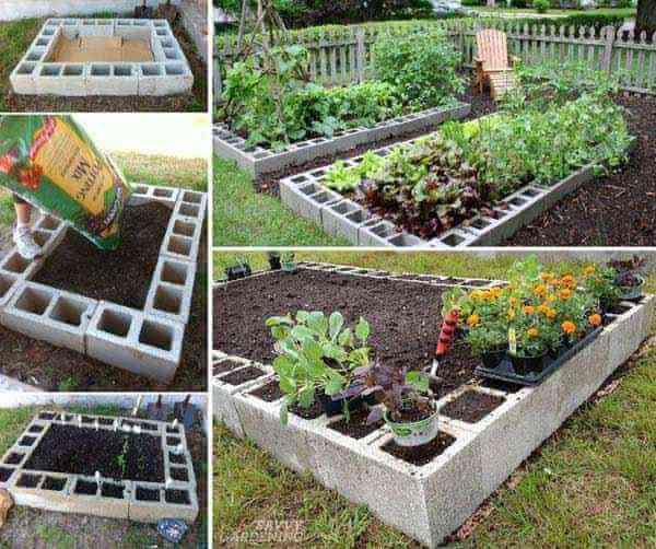 Jardin surélevé avec des blocs de béton