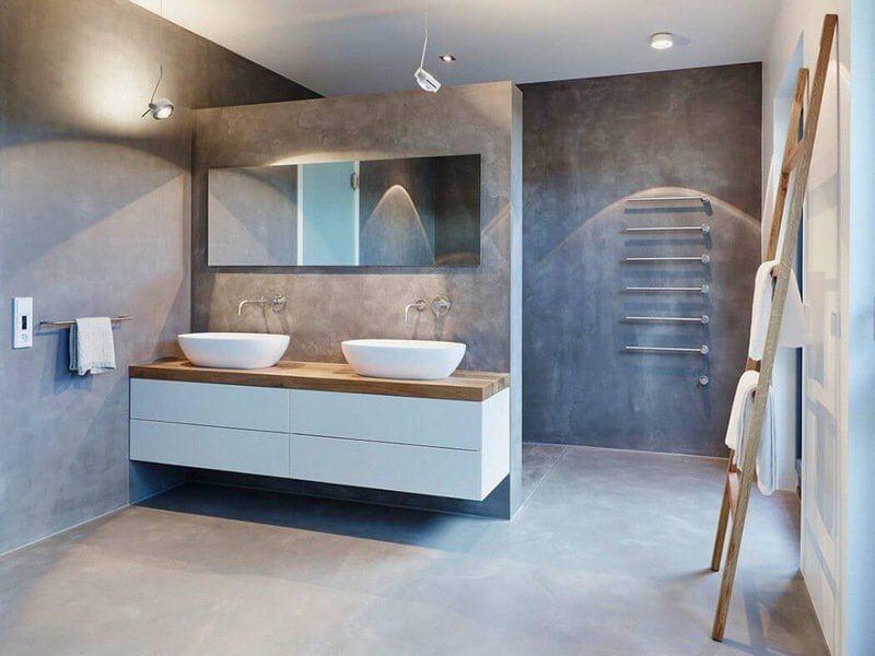 Salle de bain en béton ciré gris galet