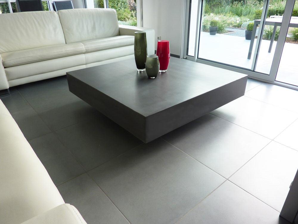 Table basse béton ciré gris graphite
